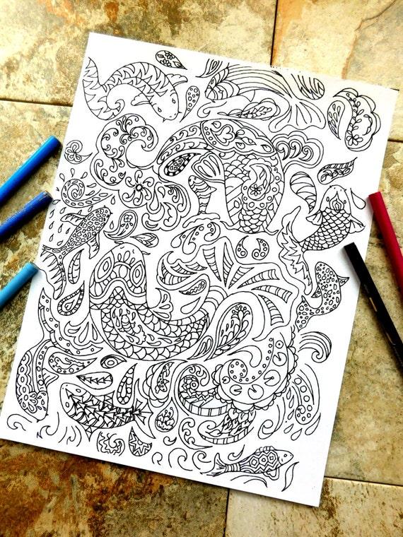 peces colorear para colorear rompecabezas natación | Etsy