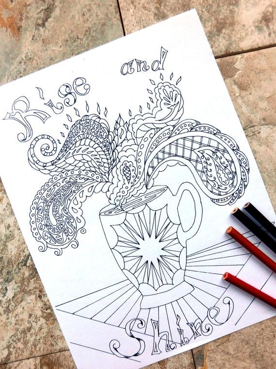 café para colorear dibujos para colorear café página java | Etsy