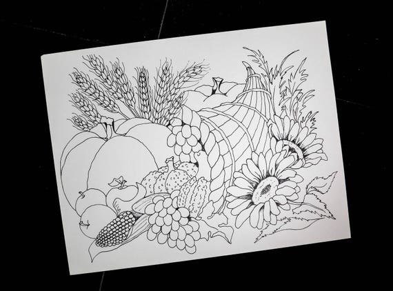Cornucopia coloring pages thanksgiving pumpkins horn of | Etsy
