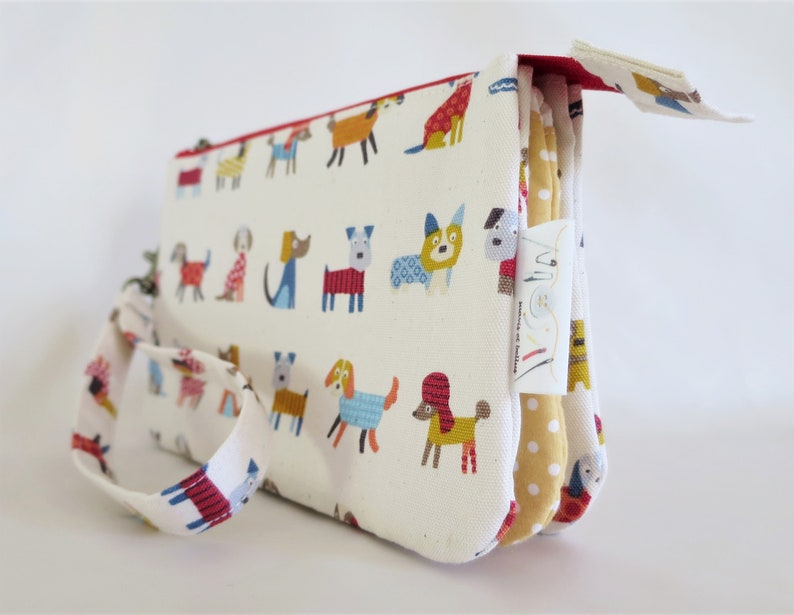 Handmade Multicoloured red dog wristlet double zip pouchCross body shoulder bagclutchpursepencil caselightweightadjustable strap