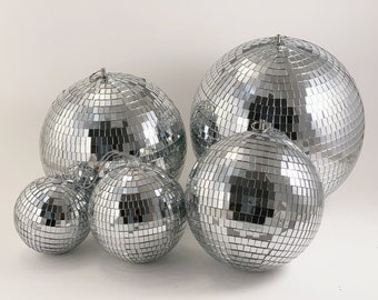 """Mirror Disco Light Ball with Hanging Ring / String Multi Sizes 4"""", 5"""", 6"""", 8"""", 10"""", 12"""", 16"""", 20"""""""