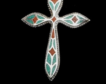 Sterling Silver Navajo Cross Signed 'CJ'   Big and Beautiful