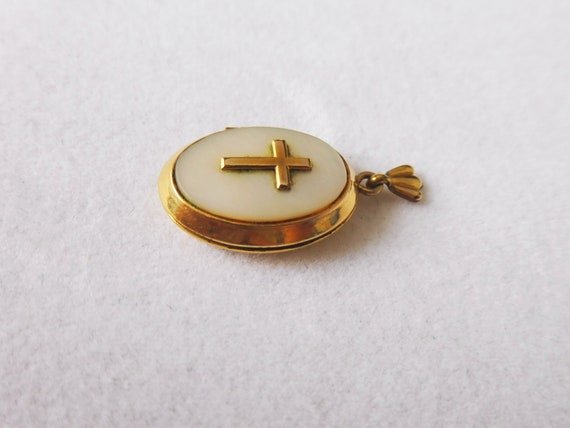 Gold Filled Religious Locket with Mother of Pearl… - image 3