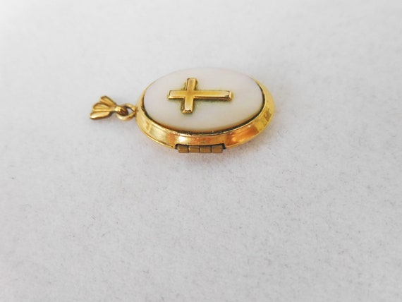 Gold Filled Religious Locket with Mother of Pearl… - image 2