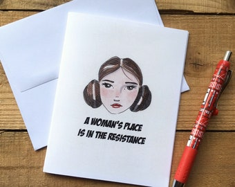 A Woman's Place is in the Resistance Blank Notecards - Princess Leia Blank Notecards - Star Wars Blank Notecards