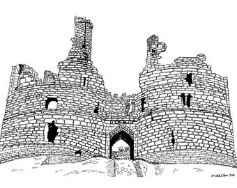 Dunstanburgh Castle, Northumberland - Giclee Print, Northumberland Architecture, Illustration, Gift