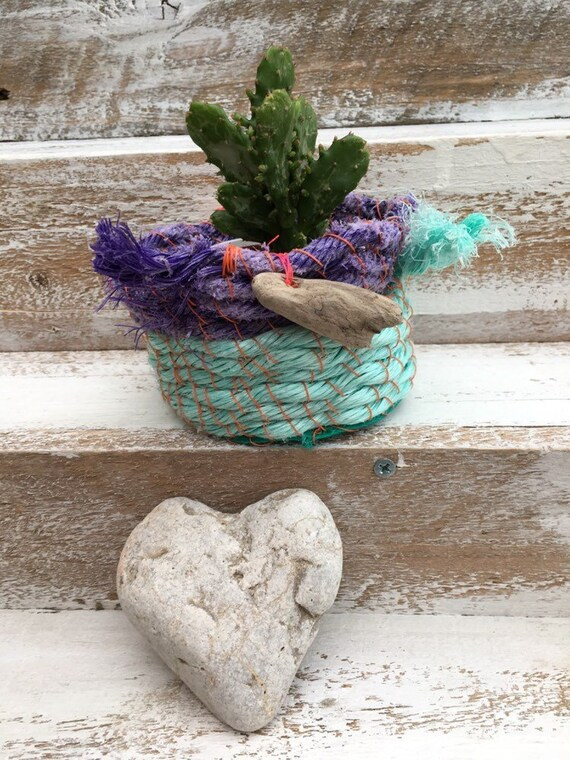 Marine plastic bowl. Beach plastic basket. plant holder. upcycled gift. christmas gift. upcycled marine plastic bowl. gift for mum.