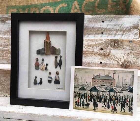 Beach art. Pebble Art. Mr Lowry Style Picture. Street Scene. Going To Church Scene. Northern Street Scene.