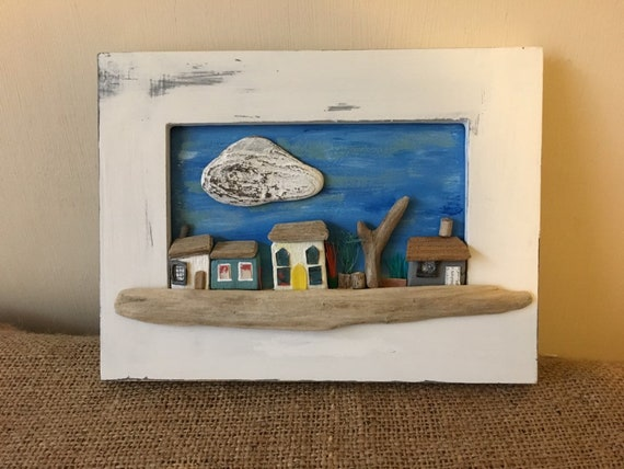 Driftwood house picture. Tiny houses picture. Wooden houses in frame. Country cottages. Coastal art. Seaside houses.