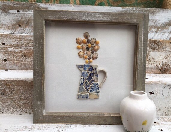 Beach Pottery and Shells. Jug of Flowers. mosaic picture. pretty flowers in a jug art. Christmas gift. Birthday gift. gift for mum or gran.