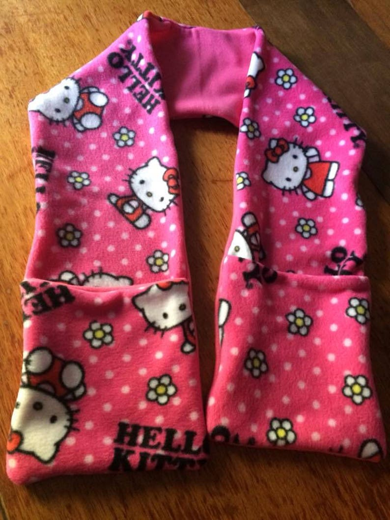 16911a9f3 Hello Kitty. Reversible Fleece Pocket Scarf keep your hands | Etsy