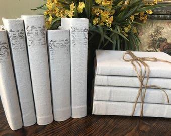 Canvas Vintage Script Books Decorative Beige French Country Decor Shabby Chic Filler Bookshelf