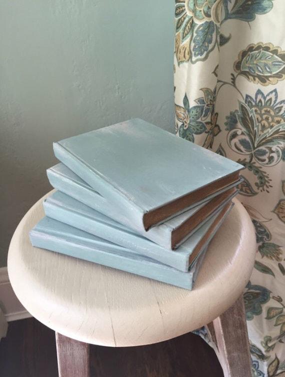Book Decor Decorative Books Farmhouse Decor Custom Colors Trending Home Decor Rustic Decor French Shabby Chic Duck Egg Grey