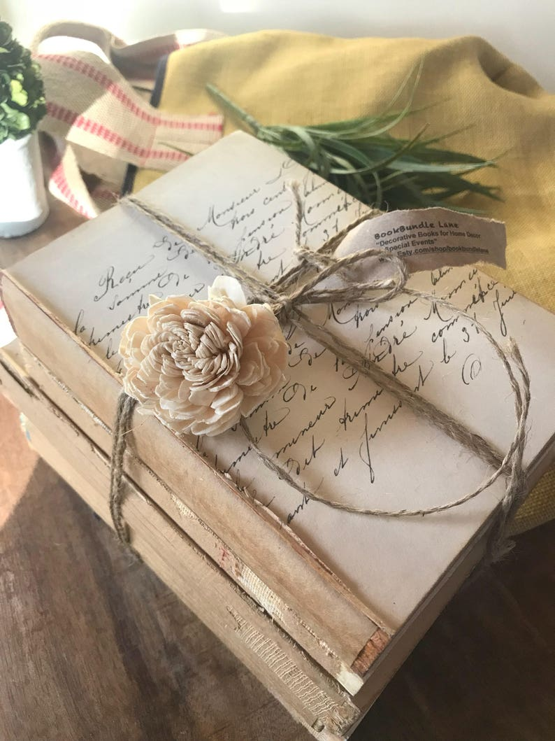 Fall Decor, French Script, Unbound Books, French Farmhouse Decor, Rustic  Farmhouse, Shabby Chic, Old Rustic Books, French Country Decor