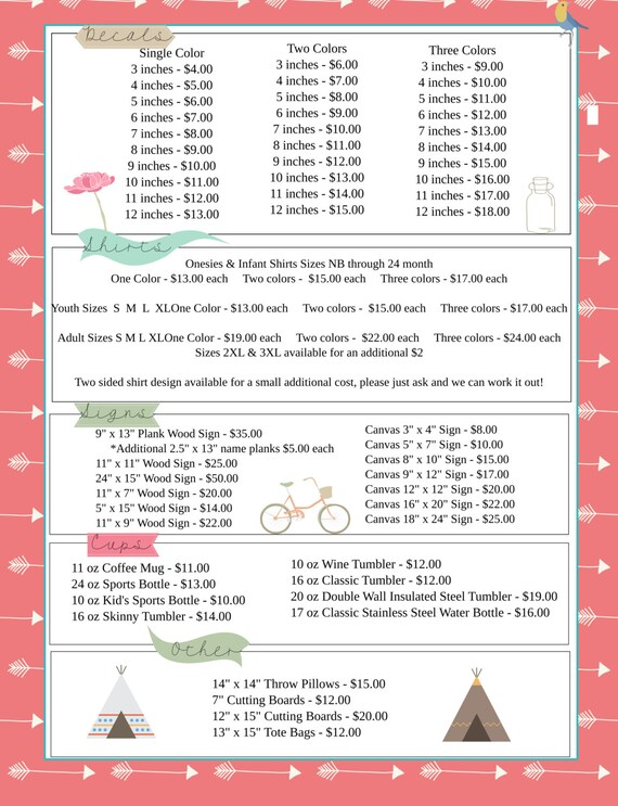 summer camp price list indian theme arrows price list etsy