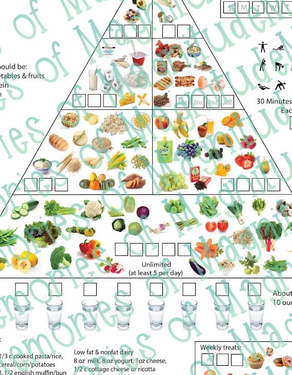 Dash Diet Food Chart Printable Download American Heart | Etsy