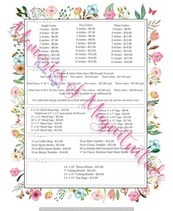 Garden Floral Price Sheet Vinyl Business Digital Download