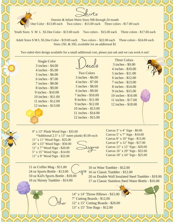 honey bee price list order form vinyl business business etsy