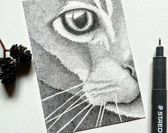 Soul's Door Original Pen and Ink ACEO Pointillism Cat Drawing