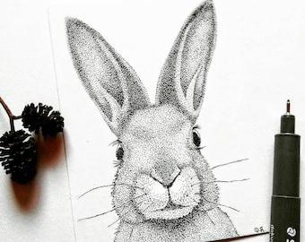 Hazel Original Pen and Ink ACEO Pointillism Rabbit Drawing