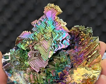 Neon Castle 372g XXL Bismuth Crystal Castle Sacred Geometry Fractal Transformation Healing Sculpture Science Gift Home Decor
