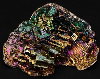 Subterranean City 386g XXL Bismuth Crystal Geode Plate Sacred Geometry Fractal Transformation Healing Sculpture Science Home Decor