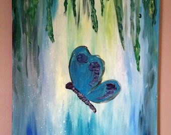Butterfly Magestic: Acrylic paining, 16x20 canvas,
