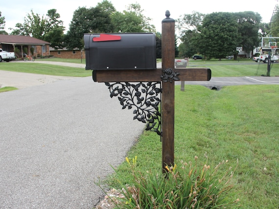 Rose Pattern Wrought Iron Mailbox Post Accessory Set with Pineapple top Mailbox