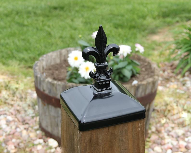 Fleur-de-lis Post Cap for 6x6 Wood Fence Post, Fleur-de-lis Wrought Iron  Post Top, Fleur de Lis Decor, Porch Decor, Decorative Post Cap