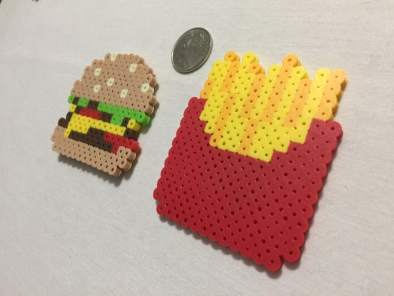 Cute Burger And Fries Fridge Magnets Pixel Art Food Magnets Home Decor Fast Food Mcdonalds Wendys Burger King