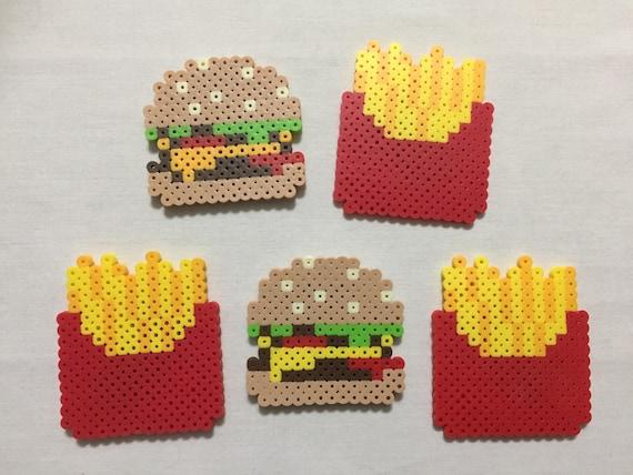 Cute Hamburger Et Frites Frigo Aimants Pixel Art Nourriture Aimants Home Decor Fast Food Mcdonalds Wendys Burger King