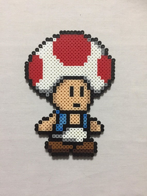 Toad Pixel Art Sprite Magnet Super Mario Bros Paper Mario Princess Peach Luigi Mushroom Kingdom Nerdy Geeky Retro Pixel Art