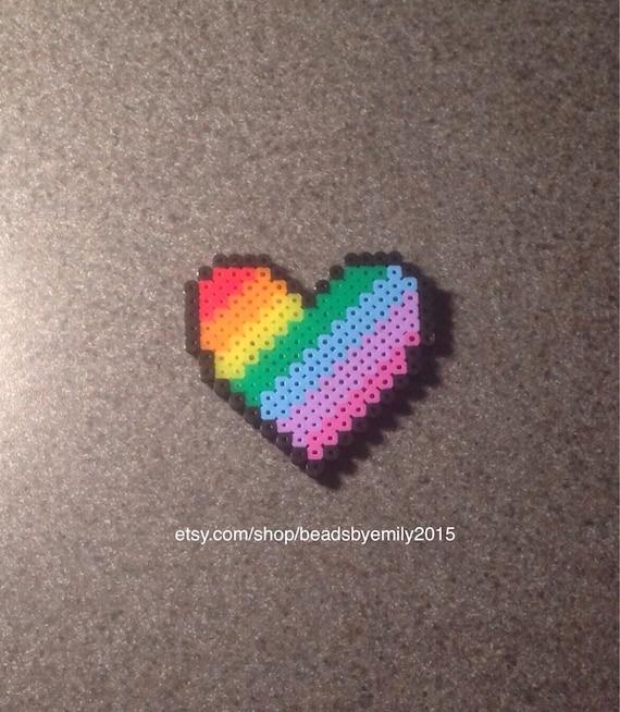 Arc En Ciel Coeur Aimant Cute Home Decor Pixel Coloré Art Cadeau Pour Petit Ami Petite Amie Lgbt