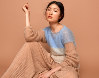 knit sweater, pale blue, cream, camel, SABRINA WEIGT, mohair, fluffy sweater, knit, german fashion design, knitwear,fashion knitwear,fashion