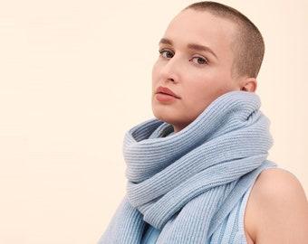 light blue cashmere scarf, cashmere shawl, cashmere throw, cashmere wrap, cashmere scarf, blanket scarf, blue scarf, knitted cashmere scarf