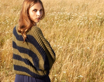 olive navy stripes mohair sweater, mohair sweater, kid mohair sweater, cosy sweater, egg shape sweater, oversized sweater, mohair jumper