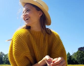 yellow mohair sweater, mohair sweater, kid mohair sweater, cosy sweater, egg shape sweater, oversized sweater, statement sweater, knitwear