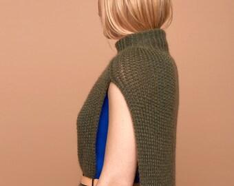 slim poncho cape, olive, mohair, stand-up collar, SABRINA WEIGT, khaki, collar, big knit, chunky knit, dark greenknitwear, design, fashion