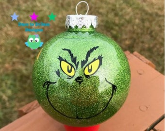 personalized grinch inspired ornamentchristmas decor - Grinch Christmas Ornaments