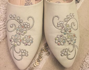 Leather Embroided and Stone Embellished Babouche Slippers