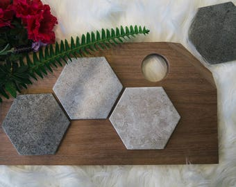 Concrete Coasters - Stone Coasters - Housewarming Gift - Modern Industrial (4 Pack) - Concrete Look