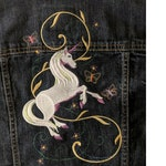 Custom for MEL B - Flamingo & Unicorn EMBROIDERED BLACK Denim Jean Jacket Featuring - Front and Back Designs - Outstanding!
