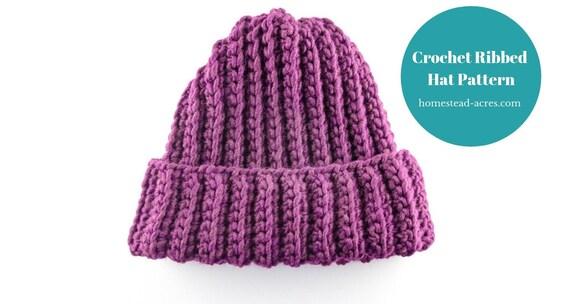 Easy Crochet Ribbed Hat Pattern Beginner Crochet Hat Pattern Etsy