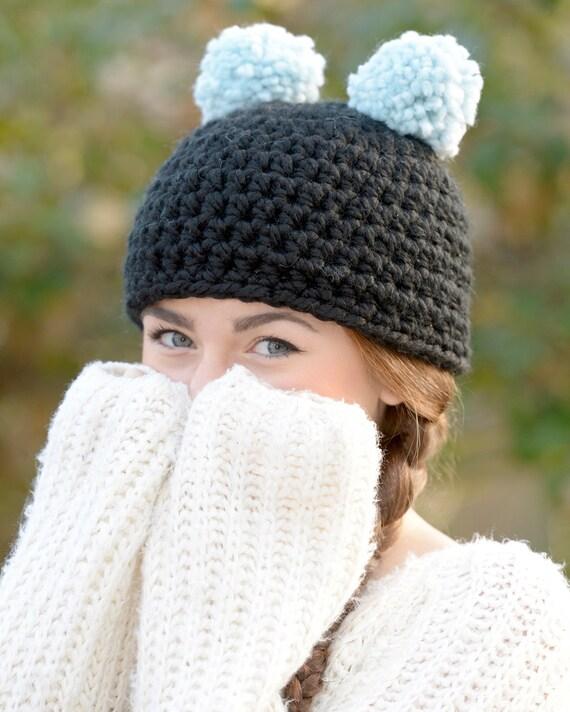 Pom Pom Hat   Bear Ears Hat   Bear Ears Beanie   Crochet Bear  8ecd05c4c47