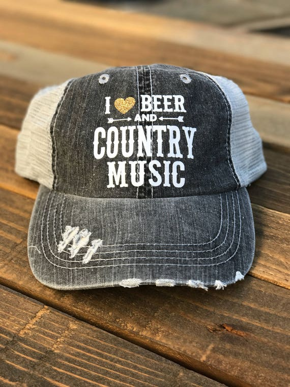 I Heart Beer and Country Music Trucker Hat I Love Beer and  b48de93a3a7