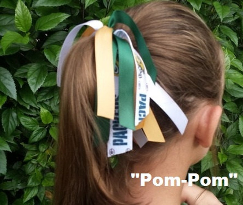 Team Colors Ribbon Ponytail Holder Made w// Philadelphia Eagles Grosgrain Ribbon