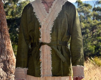 ROUEN Cardigan Khadi Men Earthy Clothing Organic Natural Hand Woven Tribal Clothing