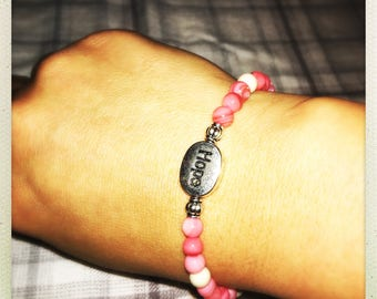 Breast Cancer Awareness Pink and Ivory Hope Bracelet