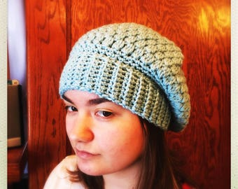 Crocheted Teal Star Puff Slouchy Hat