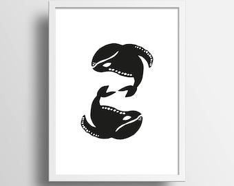 "Illustration ""Baleines"" A4 Print"